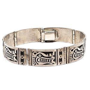 Heavy sterling silver Mexico dragon bracelet